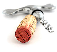 wine cork with open corkscrew