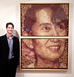 Conrad Engelhardt in front of his cork portrait of Nobel laureate Aung San Suu Kyi. The portrait won the £10,000 Visitors' Choice award at the 2013 Threadneedle Prize.