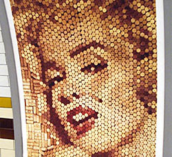 50th year tribute to marilyn monroe created from wine corks