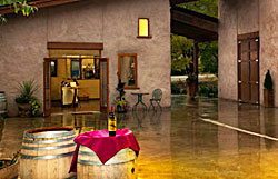 courtyard of orofino vineyards in oliver bc, a new participant in the put a cork in it cork recycling program